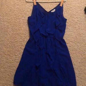 Blue dress with gold straps